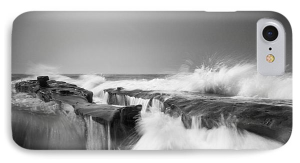 Incoming  La Jolla Rock Formations Black And White IPhone Case