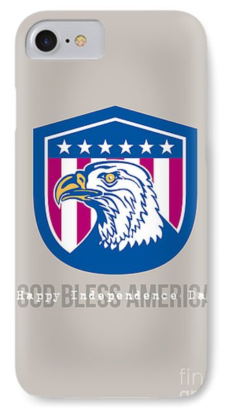 Independence Day Greeting Card-american Bald Eagle Head Side Stars  IPhone Case by Aloysius Patrimonio