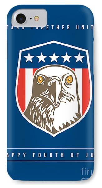 Independence Day Greeting Card-american Bald Eagle Head Stars Shield IPhone Case by Aloysius Patrimonio