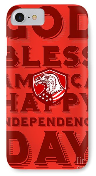 Independence Day Greeting Card-american Bald Eagle Shield IPhone Case by Aloysius Patrimonio