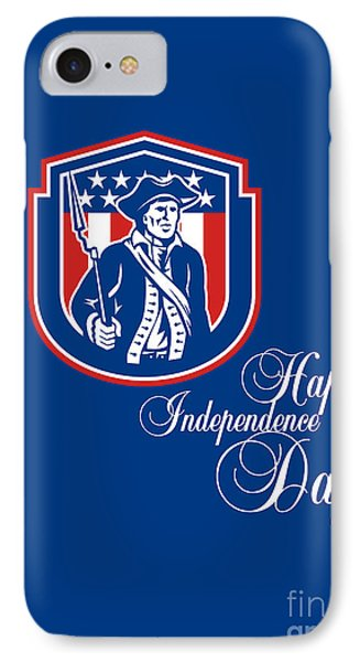 Independence Day Greeting Card-american Patriot Holding Bayonet Rifle IPhone Case by Aloysius Patrimonio