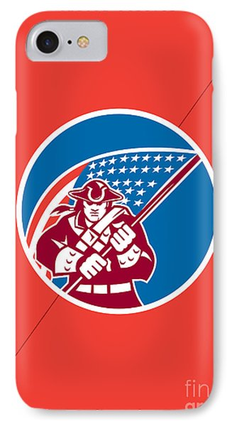Independence Day Greeting Card-american Patriot Holding Flag IPhone Case by Aloysius Patrimonio