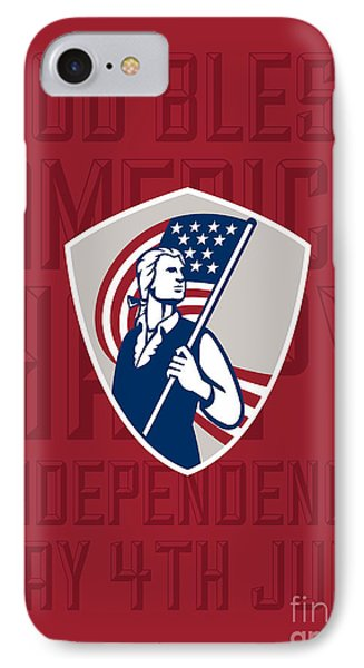 Independence Day Greeting Card-american Patriot Holding Usa Flag Shield IPhone Case