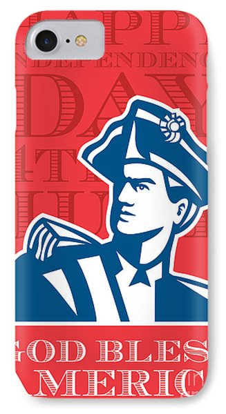 Independence Day Greeting Card-american Patriot Soldier Bust IPhone Case by Aloysius Patrimonio