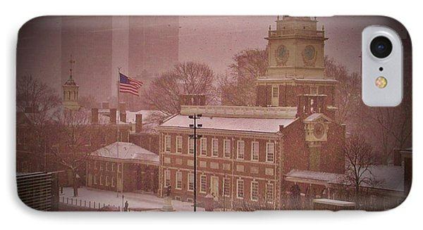 Independence Hall In The Snow Phone Case by Bill Cannon