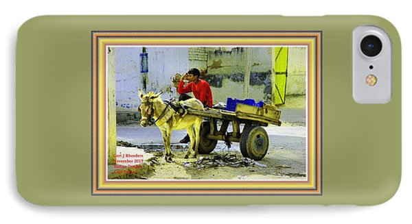 Indian Donkey Cart Owner H A With Decorative Ornate Printed Frame. IPhone Case by Gert J Rheeders
