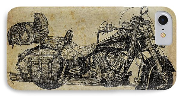 Indian Motorcycle On Vintage Background, Gift For Bikers, Man Cave Decoration IPhone Case by Pablo Franchi