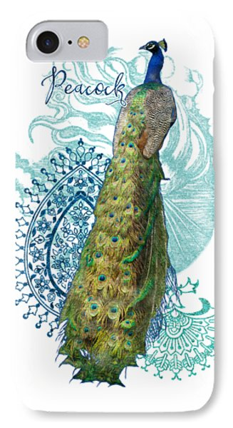 Indian Peacock Henna Design Paisley Swirls IPhone Case by Audrey Jeanne Roberts