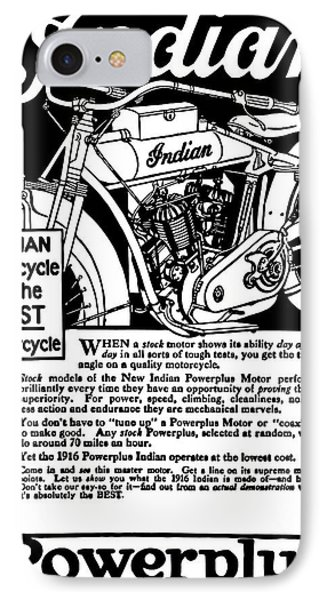 IPhone Case featuring the digital art Indian Power Plus Motocycle Ad 1916 by Daniel Hagerman