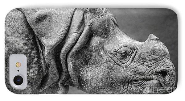 Indian Rhino Profile IPhone Case by Jamie Pham