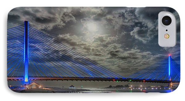 Indian River Bridge Moonlight Panorama IPhone Case by Bill Swartwout