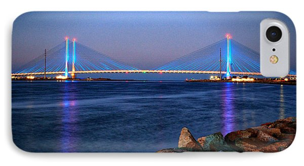 Indian River Inlet Bridge Twilight IPhone Case by Bill Swartwout