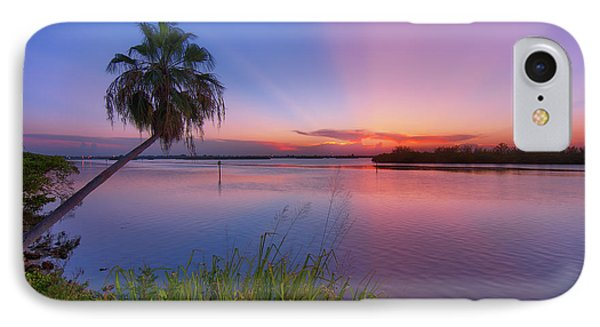 Indian River State Park Bursting Sunset IPhone Case by Justin Kelefas