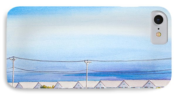 Indian Summer Days Cottages North Truro Massachusetts Watercolor Painting IPhone Case by Michelle Wiarda
