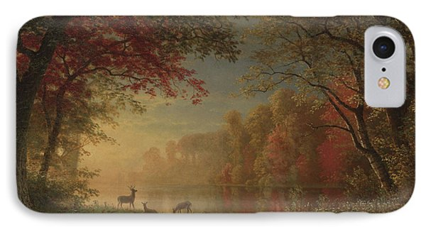 Indian Sunset Deer By A Lake IPhone Case by Albert Bierstadt