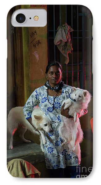 IPhone Case featuring the photograph Indian Woman And Her Dogs by Mike Reid