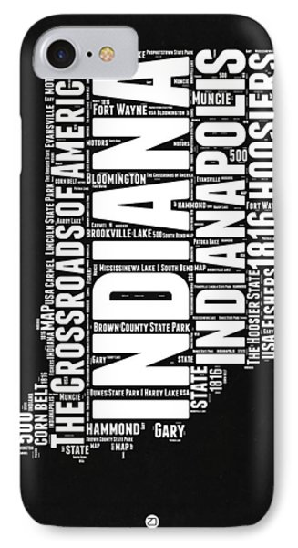 Indiana Black And White Word Cloud Map IPhone Case by Naxart Studio
