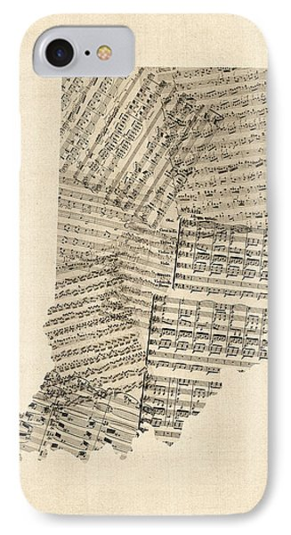 Indiana Map, Old Sheet Music Map IPhone Case by Michael Tompsett