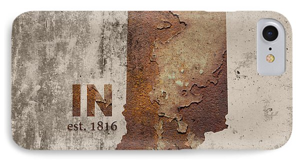 Indiana State Map Industrial Rusted Metal On Cement Wall With Founding Date Series 032 IPhone Case