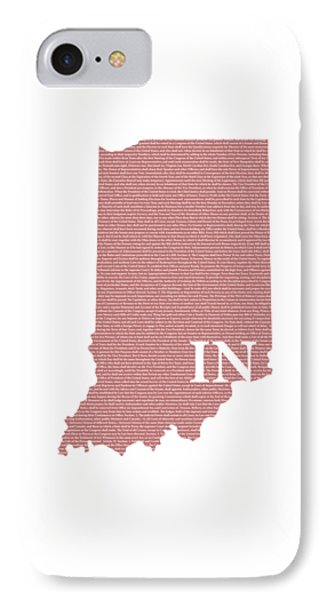 Indiana State Map With Text Of Constitution IPhone Case