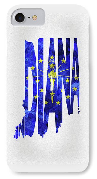 Indiana Typographic Map Flag IPhone Case