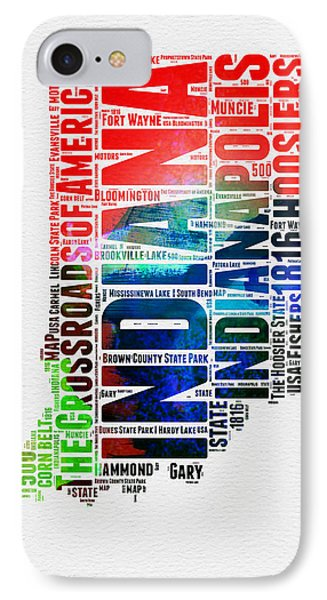 Indiana Watercolor Word Cloud Map  IPhone Case by Naxart Studio