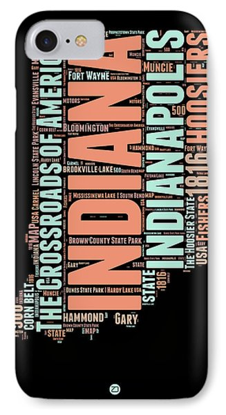 Indiana Word Cloud Map 1 IPhone Case by Naxart Studio