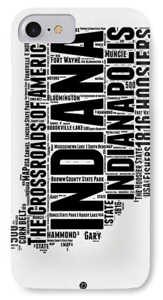 Indiana Word Cloud Map 2 IPhone Case by Naxart Studio