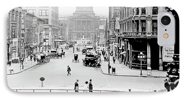 Indianapolis, Indiana, Downtown Area, C. 1915, Vintage Photograp IPhone Case by A Gurmankin