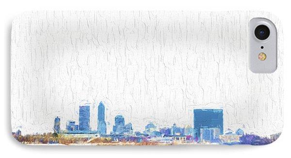 Indianapolis Indiana Skyline Creative Blue IPhone Case by David Haskett