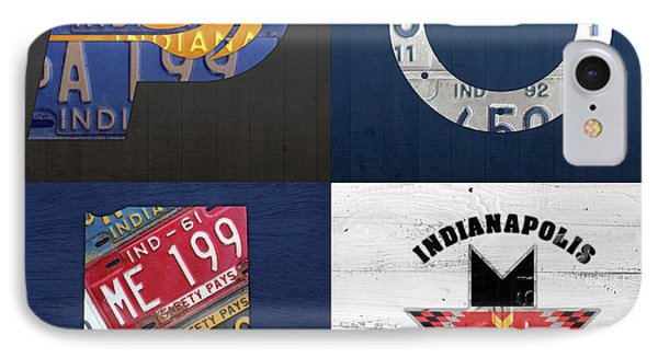Indianapolis Indiana Sports Team License Plate Art Collage Map Pacers Colts Indians IPhone Case by Design Turnpike