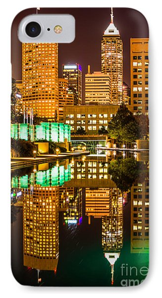 Indianapolis Skyline At Night Canal Reflection Picture Phone Case by Paul Velgos