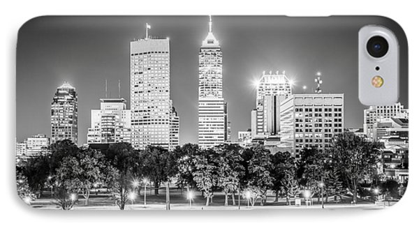 Indianapolis Skyline Black And White Picture IPhone Case by Paul Velgos