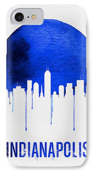 Indianapolis Skyline Blue IPhone Case by Naxart Studio