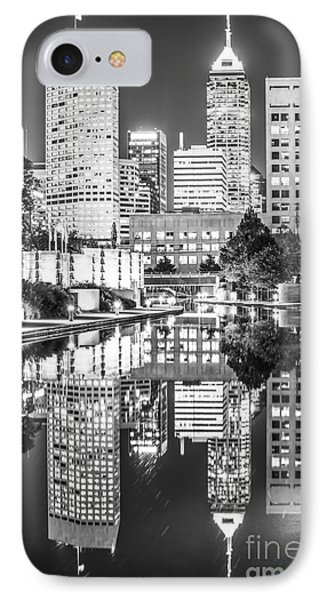 Indianapolis Skyline Central Canal Black And White Photo IPhone Case by Paul Velgos
