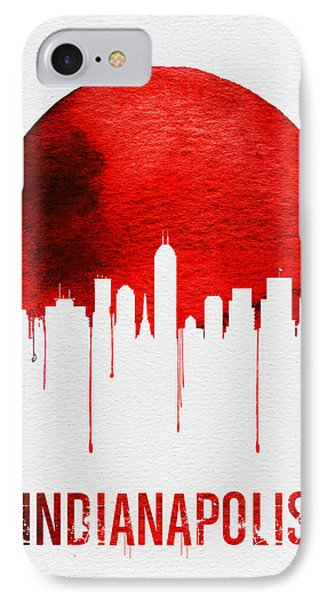 Indianapolis Skyline Red IPhone Case by Naxart Studio