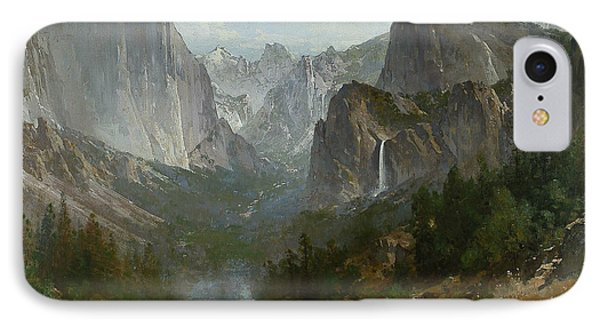 Indians At Campfire Yosemite Valley IPhone Case by Thomas Hill