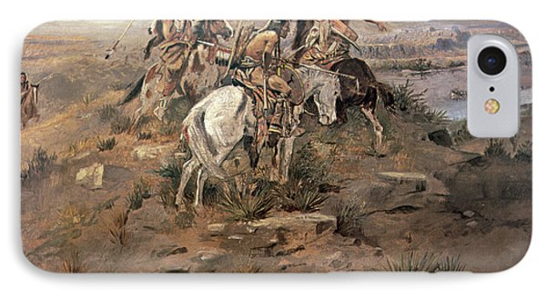 Indians Discovering Lewis And Clark IPhone Case by Charles Marion Russell