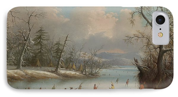 Indians Playing Lacrosse On The Ice, 1859 IPhone Case by Edmund C Coates