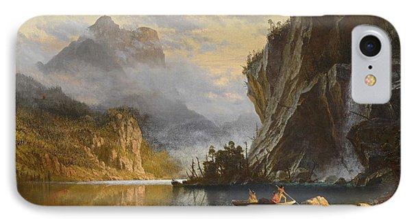 Indians Spear Fishing, 1862 IPhone Case by Albert Bierstadt