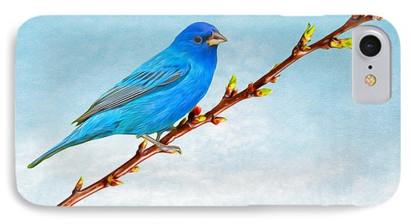 Bunting iPhone 7 Case - Indigo Bunting by Laura D Young