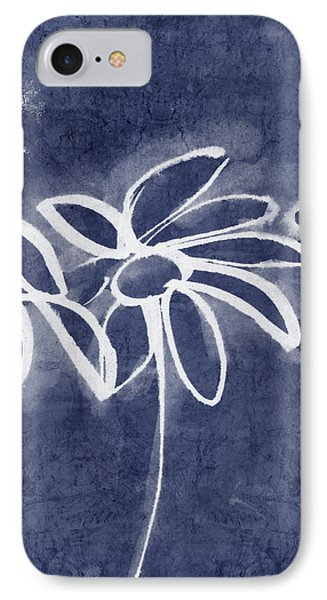 Indigo Floral 1- Art By Linda Woods IPhone Case by Linda Woods