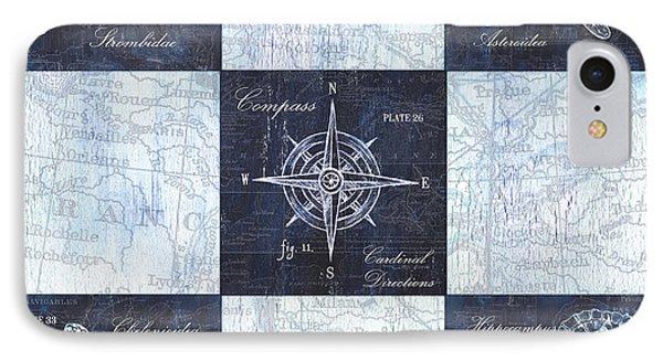 Indigo Nautical Collage IPhone 7 Case by Debbie DeWitt