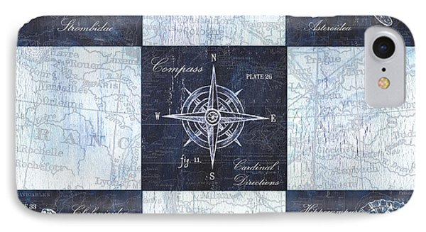 Indigo Nautical Collage IPhone Case by Debbie DeWitt