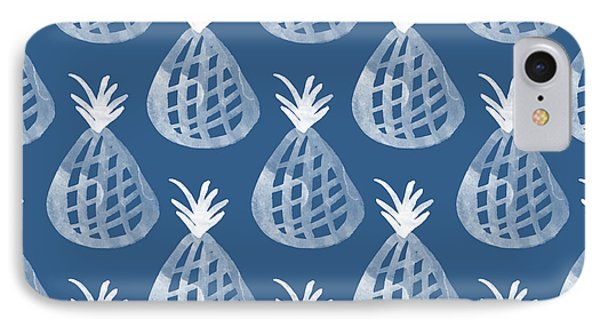 Indigo Pineapple Party IPhone 7 Case by Linda Woods
