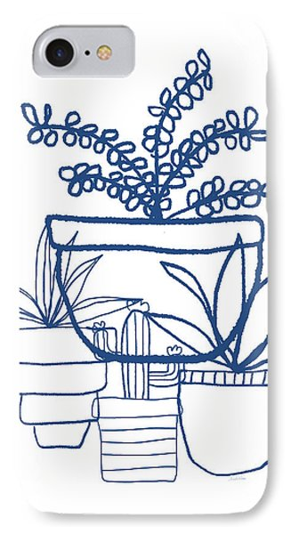 Indigo Potted Succulents- Art By Linda Woods IPhone Case by Linda Woods