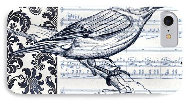 Bluebird iPhone 7 Case - Indigo Vintage Songbird 1 by Debbie DeWitt