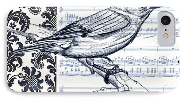 Indigo Vintage Songbird 1 IPhone Case by Debbie DeWitt
