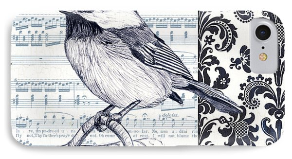Indigo Vintage Songbird 2 IPhone 7 Case by Debbie DeWitt