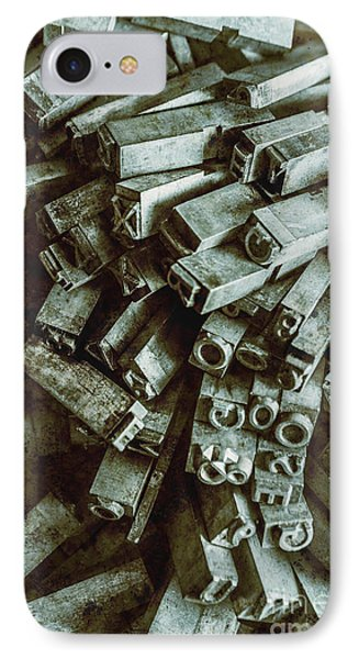 Industrial Letterpress Typeset  IPhone Case by Jorgo Photography - Wall Art Gallery